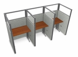 "Privacy Cubicle Panel Station, 1X3 Layout, 63""H, 36""W, Polycarbonate Panel Tops - OFM - T1X3-6336-P"