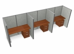 "Privacy Cubicle Panel Station, 1X3 Layout, 63""H, 60""W, Vinyl Panels - OFM - T1X3-6360-V"