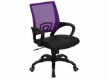 Purple Mesh Office Chair with Black Leather Seat - CP-B176A01-PURPLE-GG