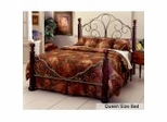 Queen Size Bed - Ardisonne Metal Bed with Wood Posts in Old Silver and Cherry