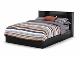 Queen Size Bed with Headboard in Solid Black - South Shore Furniture - 3170-QBED-17