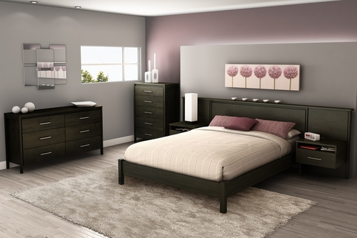 Queen Size Bedroom Furniture Set 71 in Ebony - Gravity - South Shore Furniture - 3577-BSET-71