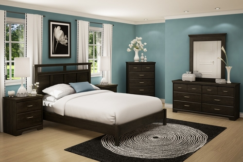Queen Size Bedroom Furniture Set 72 in Ebony - Gravity - South Shore Furniture - 3577-BSET-72