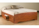 Queen Size Platform Storage Bed in Cherry - Monterey Collection - Prepac Furniture - CBQ-6200