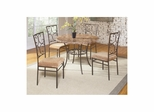 Rachel Dining Table and 4 Side Chairs Bronze Metal / Stone - Largo - LARGO-ST-D223-60