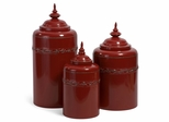 Red Metal Canisters (Set of 3) - IMAX - 56139-3