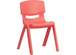 Red Plastic Stackable School Chair - YU-YCX-004-RED-GG