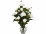 Rose Bush with Vase Silk Flower Arrangement - Nearly Natural - 1281-WH