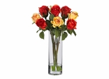Roses with Glass Vase Silk Flower Arrangement in Multi - Nearly Natural - 4740