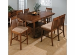 Saddle Brown Oak Six Piece Dining Pub Set with Bench - 477-72