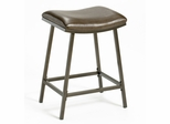 Saddle Counter/Barstool with Nested Leg in Brown Copper with Brown Vinyl - Hillsdale Furniture - 63725