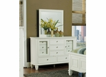 Sandy Beach Dresser with Mirror in White - Coaster - 201303-04-SET