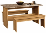 """Sauder Beginnings 49"""" W Trestle Table With Benches Highland Oak"""