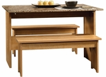 """Sauder Beginnings 53"""" W Trestle Table with Benches Highland Oak"""