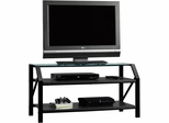 "Sauder Beginnings Panel 47"" TV Stand Black with Clear Glass"