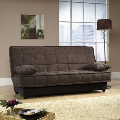 Sauder Lincoln Convertible Sofa Microfiber Chocolate with Underseat Storage