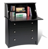 Secretary Desk in Black - Sonoma Collection - Prepac Furniture - BSD-3344