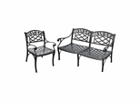 Sedona 2 Piece Aluminum Outdoor Conversation Set - Black Loveseat and Club Chair - CROSLEY-KO60004BK