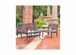 Sedona 3 Piece Aluminum Outdoor Conversation Set - Black Loveseat, Club Chair and Cocktail Table - CROSLEY-KO60003BK