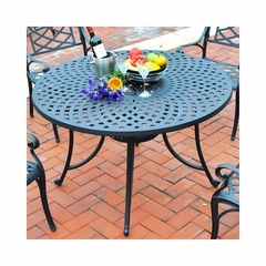 "Sedona 48"" Cast Aluminum Dining Table in Charcoal Black - CROSLEY-CO600148-BK"
