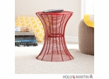 SEI Indoor/Outdoor Round Metal Accent Table, 18.5 Inch - Red