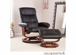 SEI Recliner and Ottoman - Black Bonded Leather, U-Base