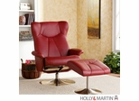 SEI Recliner and Ottoman - Brick Red Bonded Leather