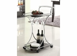 Serving Cart with 2 Black Glass Shelves - 910001
