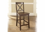(Set of 2) X-Back Bar Stool in Vintage Mahogany Finish with 24 Inch Seat Height - Crosley Furniture - CF500424-MA