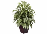 Silver Queen with Decorative Planter Silk Plant - Nearly Natural - 6693