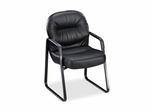 Sled Base Guest Chair - Black Leather - HON2093SR11T