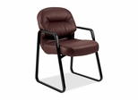 Sled Base Guest Chair - Burgundy Leather - HON2093SR69T
