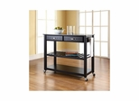 Solid Black Granite Top Black Kitchen Cart / Island - Optional Stool Storage - CROSLEY-KF30054BK