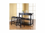"Solid Black Granite Top Kitchen Cart / Island in Black with 24"" Saddle Stools - CROSLEY-KF300544BK"