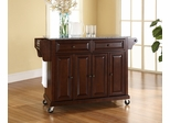 Solid Granite Top Kitchen Cart/Island in Vintage Mahogany - CROSLEY-KF30003EMA