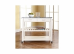 Solid Granite Top White Kitchen Cart / Island - Optional Stool Storage - CROSLEY-KF30053WH