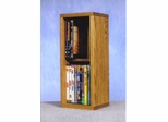 Solid Oak 2 Row Dowel DVD Cabinet Tower - 215