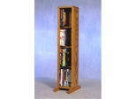Solid Oak 4 Row Dowel 40 Capacity DVD Cabinet Tower - 415