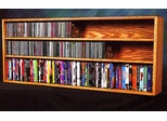 Solid Oak Wall or Shelf Mount CD / DVD / VHS Storage Cabinet - 312-4W