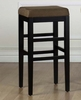 "Sonata 26"" Stationary Barstool in Brown Microfiber / Black - Armen Living - LCSTBAMFBR26"