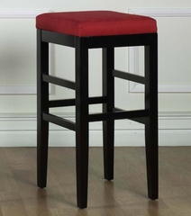 "Sonata 26"" Stationary Barstool in Red Microfiber / Black - Armen Living - LCSTBAMFRE26"