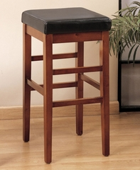 "Sonata 30"" Stationary Barstool in Brown Leather - Armen Living - LCSTBACHBR30"