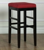 "Sonata 30"" Stationary Barstool in Red Microfiber / Black - Armen Living - LCSTBAMFRE30"