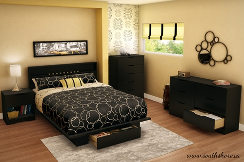 South Shore Holland Full Queen Pure Black Bedroom Set 5 Piece 3370261 Bedroom Sets