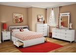 South Shore Sparkling 6PC Full Size Pure White Bedroom Set - 3260211