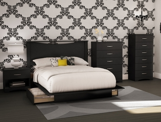 South Shore Step One 5PC Queen Bedroom Set with Nightstand - Pure Black - 3107270