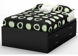 South Shore Step One Full Captain Bed in Black - 3107209