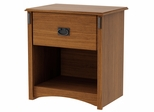 South Shore Tryon Traditional 1 Drawer Nightstand in Roasted Oak - 3791062