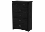 South Shore Tryon Traditional 5 Drawer Chest in Black Oak - 3747035