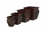 Square Planters with Rim (Set of 4) - Nearly Natural - 0523